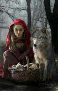 Dark art: Little Red Riding Hood & pups