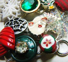 Whimsical Vintage Junk Bracelet  Christmas Collage by junkiejools
