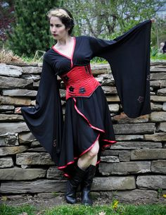 Steampunk Kimono Dress and Corset Full Outfit  by GearPunkD, $280.00   .... i've been into steampunk lately >.>