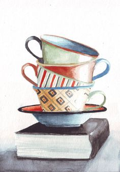 Original watercolor painting tea cups patterns red by HelgaMcL http://etsy.me/W2U5bF $20.00