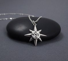 North Star Compass Necklace Sterling Silver by themoonflowerstudio