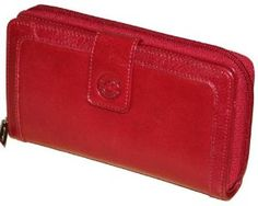 """Mancini Red Leather Ladies' """"Super Clutch"""" Wallet by Mancini-Canada. $61.49. Fine top grain leather. Ladies' """"Super Clutch"""" Wallet. (W x H)6.875""""x 3.75. ?Tab with snap closure ?Full zipper closure ?Handy pen loop ?Zippered coin pockets ?Identification card window. Save 32%!"""
