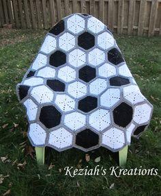 Crochet soccer blanket throw by KeziahsKreations on Etsy