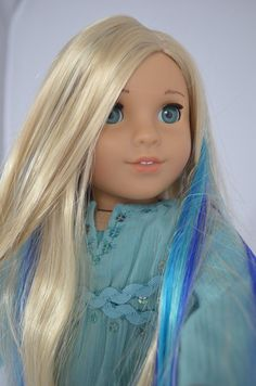 American Girl Doll Custom Marie Grace with Blue and Teal Highlights OOAK | eBay