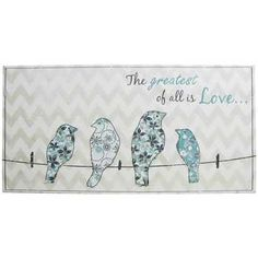 This Turquoise, White & Gray Birds on Wire with Chevron Print Canvas features a just-painted look and feel. Four flower patterned printed birds rest along a black clothes line wire with the text: The