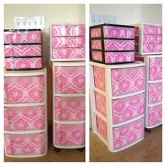 Recovered boring storage containers with pink wrapping paper and mod podge. Great way to hide the stuff inside and add a pop of color. Cost $10 (mod podge and wrapping paper)