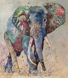 Sophie Standing's Textile Art Sophie Standing is a British-born artist who has lived in Africa for 15 years. She produces her art by combining applique and free-motion embroidery. The details of the. Elephant Quilt, Elephant Love, Elephant Art, Thread Painting, Painting Tips, Watercolor Painting, Animal Quilts, Textile Artists, Embroidery Art