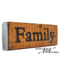 """$9.00  Handcrafted Wooden """"Family"""" Shelf Sitter With Hand-Stenciled Lettering on Natural Wood Finish Add a quaint touch to your home with this wood shelf sitter! Finished wood and hand stenciled black lettering Made from recycled wood by a skilled woodworker. 10 inches long, 4 inches high, and 1 inch thick  Want your board to say something else, or perhaps your last name? Just send us a custom product request and we would be happy to make you anything you want!"""