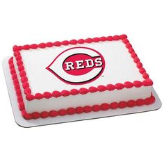 Cincinnati Reds MLB Edible Cake Topper | My Party Helpers | http://mypartyhelpers.com/products/cincinnati-reds-mlb-edible-cake-topper