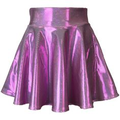 Pink Candy Holographic High Waisted Skater Skirt Clubwear, Rave Wear,... ($34) ❤ liked on Polyvore featuring skirts, pink skirt, mini skirts, pink mini skirt, high waisted mini skirt and circle skirts