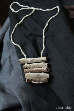 light grey natural minimalistic driftwood necklace