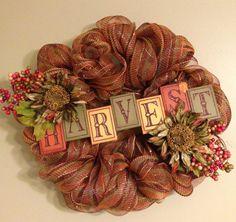 Autumn Harvest deco mesh wreath