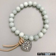"#BEADED #Yoga #Charm #BRACELETS ♛ blue amazonite is known as the lucky ""Hope Stone"". It will be lucky for all your hopes and dreams. #BoHo #Heart #Chakra #gifts #Stretch #Womens #jewelry #Eckhart #Tolle #Crystals #Energy #gifts #Handmade #Healing #Kundalini #Law #Attraction #LOA #Love #Mala #Meditation #prayer #Reiki #mindfulness #wisdom #Fashion #birthday #Spiritual #Tony #Robbins #Stacks #Gypsy"