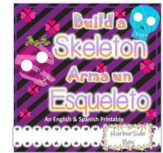 Build a skeleton for Halloween!  -12 sheets total  -1 girl skull  -1 boy skull  -1 regular skull  -full skeleton b&w, English and Spanish labeled for easy building.