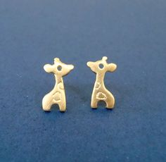Giraffe Stud Earrings 24k gold plated Sterling Silver Tiny Giraffe Gold Stud Post Girl  jewelry Kawaii earring mother's day