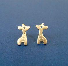 Giraffe Stud Earrings 24k gold plated Sterling Silver Tiny Giraffe Gold Stud Post Girl jewelry Kawaii earring mother's day