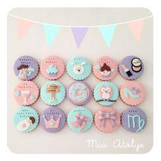 Birthday cookies Fondant Cookies, Cupcake Cookies, Cupcake Toppers, Baby Cupcake, Birthday Cookies, Popsicles, Yummy Cakes, Amazing Cakes, Cake Pops