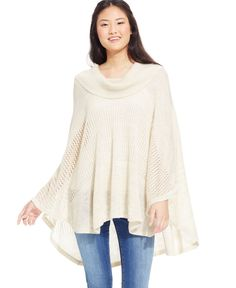 Energie Juniors' Mixed-Knit Cowl-Neck Sweater Poncho