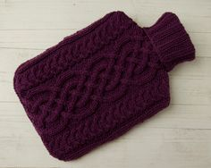 Knitted Aran Cable Hot water bottle Cover in Purple Celtic Design