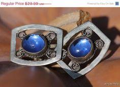 Valentine Sale Vintage Mexican Taxco Sterling Silver Blue Art Glass Screw Back Earrings