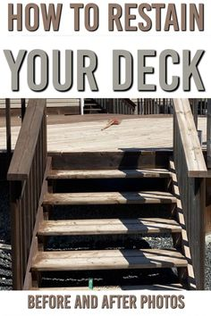 Restaining a deck is a great weekend project to DIY. Restaining your worn and weather deck can transform it and bring it to life again. Here is how to restain your deck and what to not to do. If your deck is weathered and worn it's time to restain your deck. Check out our before and after photos Oil Based Stain, Water Based Stain, Diy Deck, Diy Patio, House Paint Exterior, Exterior Doors, Restain Deck, House Paint Design, Outside Living