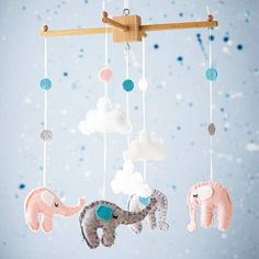 elephant and cloud cot mobile by fox's felts | notonthehighstreet.com