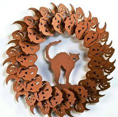 Great DIY pre-cut cardboard wreath for Halloween!