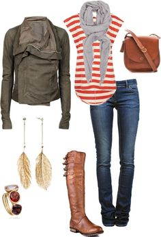 i'd rock: red and white striped shirt-need to tea stain it (Unique).  blue straight-leg jeans (old navy).  brown leather jacket (Target).