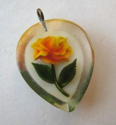 VINTAGE Reverse Carved Lucite YELLOW ROSE Charm Pendant Flower