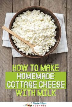 Quick and Easy Homemade Cottage Cheese Recipe Cottage cheese is healthy, delicious, and it is easy to make too. This simple recipe shows you how to make homemade cottage cheese from milk. Homemade Cottage Cheese, Cottage Cheese Recipes, Cottage Cheese Nutrition, Homemade Cheese, Vegan Cottage Cheese, Lactose Free Cottage Cheese, Goat Milk Recipes, No Dairy Recipes, Cooking Recipes