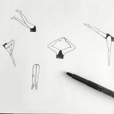 #amatør original drawing for SS16 print swimming waterballet