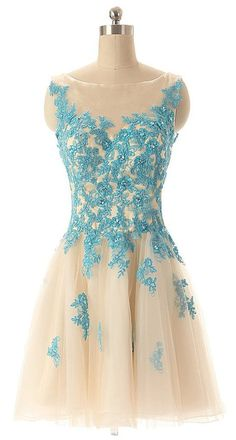 """Yudear Women's Short Bateau Zipper Back Keyhole Dresses for Prom US 12 Champagne. We recommend you only to choose brand """" Yudear """" when you place the order, some sellers are selling the fake in poor quality with lower prices. The dress is ONLY sold by Yudear. Please note that the delivery date that you saw is automatically setted by Amazon system, if you need the dress urgent, you need to choose fast shipping and tell us your deadline, so that we can rush the process. All of our dresses…"""