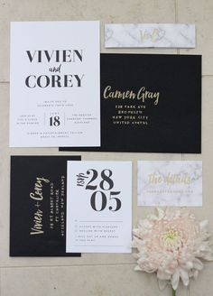113 Best Black Gold And White Wedding Invitations Images Black