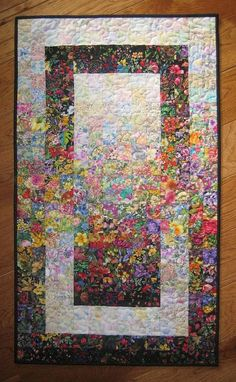 Art Quilt, Garden Window Watercolor Colorwash Fabric Wall Hanging Handmade: