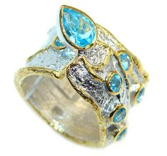 $72.55 Large+Natural++Blue++Topaz++Gold++plated+over++Sterling+Silver+Ring+size+6 at www.SilverRushStyle.com #ring #handmade #jewelry #silver #topaz