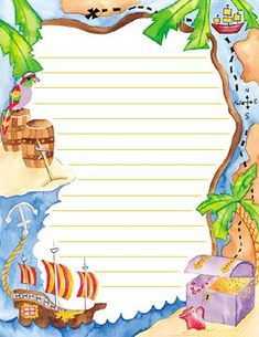 Podría servirnos para entregar a cada equipo para que usen para anotar, dibujar, etc. Pirate Birthday, Pirate Theme, Home Goods Wall Decor, Image Pinterest, Pirate Invitations, Free Printable Stationery, Borders And Frames, Stationery Paper, Note Paper