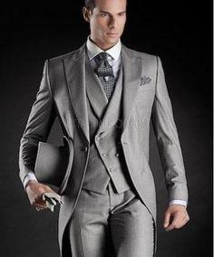 Groom Tuxedos Light Grey Best man Peak Lapel Groomsman Men's Wedding Suits Bridegroom(Jacket+Pants+Tie+Vest) Formal Prom
