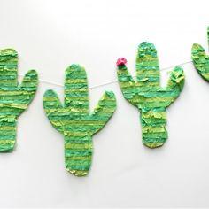 Simple DIY Cactus Pinata Banner that will add fun decor to your fiesta! Ole!