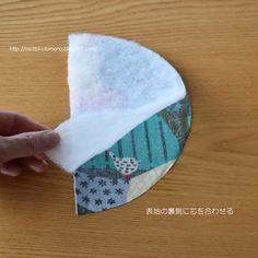 キルト芯を表地の裏に合わせる。