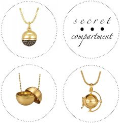 necklaces with secret compartments... i want the globe one