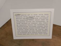 Set of 5, Interactive, All Inclusive Greeting Card, Letterpress. $19.00, via Etsy.