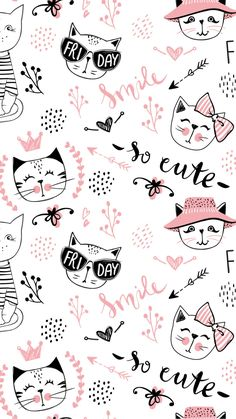 new ideas for cats wallpaper pattern pink - Cats ++ - Cat Wallpaper Tumblr Wallpaper, Cartoon Wallpaper, Tumblr Backgrounds, Kawaii Wallpaper, Animal Wallpaper, Wallpaper Iphone Cute, Pink Wallpaper, Pattern Wallpaper, Wallpaper Backgrounds