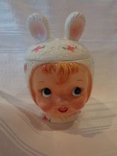 VTG NAPCO ESD 22638 LEFTON MISS CUTIE PIE BUNNY EAR GIRL CANISTER COOKIE JAR A++
