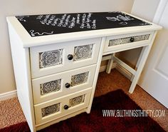 I keep thinking I need to try glazing my paintable wallpaper, so I was very excited to find this desk where someone had done just that. I LOVE how it turned out! I can't wait to try it now myself!