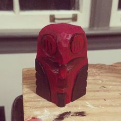Wooden Hellboy by spandexsplinters on Etsy Hand Carved, It Is Finished, Carving, Fan Art, Painting, Etsy, Wood Carvings, Painting Art, Sculpting