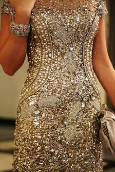 Gold Sequin cocktail dress with rhinestones! Love it!