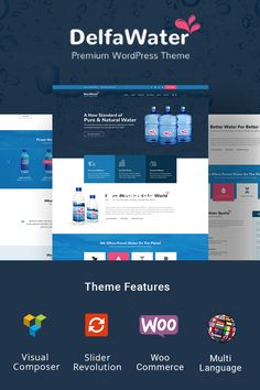 Delfa – WordPress theme that is perfect for water delivery business . Wordpress Theme Design, Premium Wordpress Themes, Webpage Layout, Best Landing Pages, Security Logo, Powerpoint Tips, Water Delivery, Online Profile, Page Online