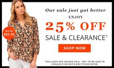 Long Tall Sally US and Canada: Extra 25% Off Sale & Clearance - Until Sunday