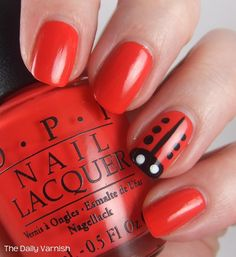Lady Bug Nail Art... Cute for the summer!!