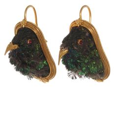 Victorian Taxidermy Hummingbird Earrings Circa 1870's taxidermy hummingbird earrings in 18k gold with original leather, velvet, and satin fitted box.